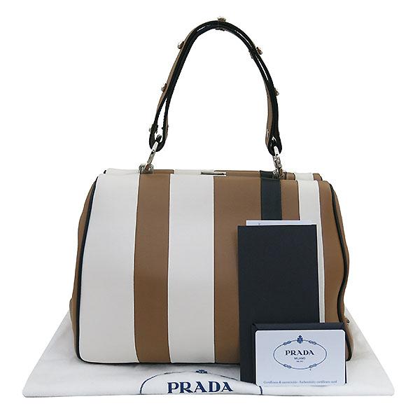 Prada(프라다) 1BA031 프레임 바이 컬러 카프 레더 토트백 + 가죽 파우치 [부산센텀본점]