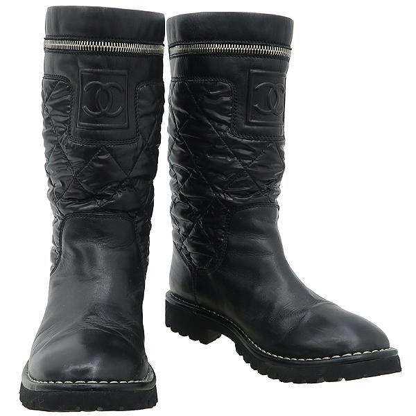 Chanel(샤넬) G26537 블랙컬러 레더 나일론 퀼팅 마트라쎄 지퍼 디테일 여성용부츠 [부산센텀본점]