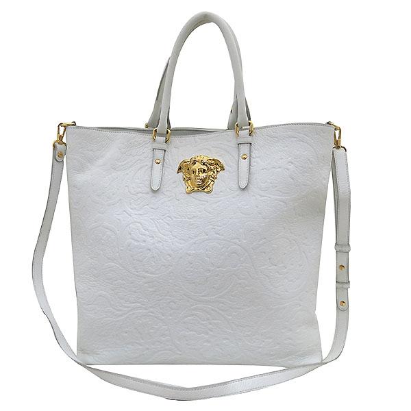 Versace(베르사체) DBFE494 금장 로고 장식 화이트레더 토트백 + 숄더스트랩 2WAY [부산센텀본점]