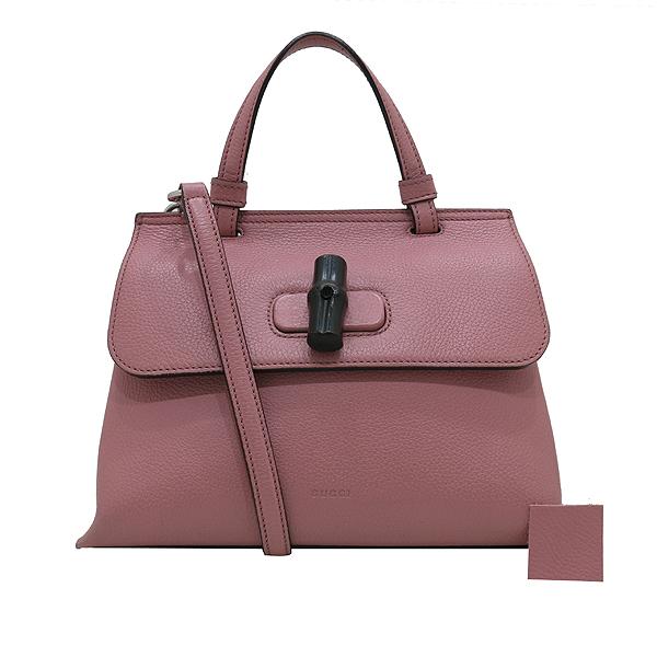 Gucci(구찌) 370831 소프트 핑크 레더 뱀부 락 장식 데일리 플랩 토트백 + 숄더스트랩 [인천점]