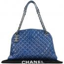 Chanel(샤넬) A66879 빈티지 카프스킨 스카이블루컬러 마드모아젤 볼링 은장로고 체인 숄더백 [강남본점]