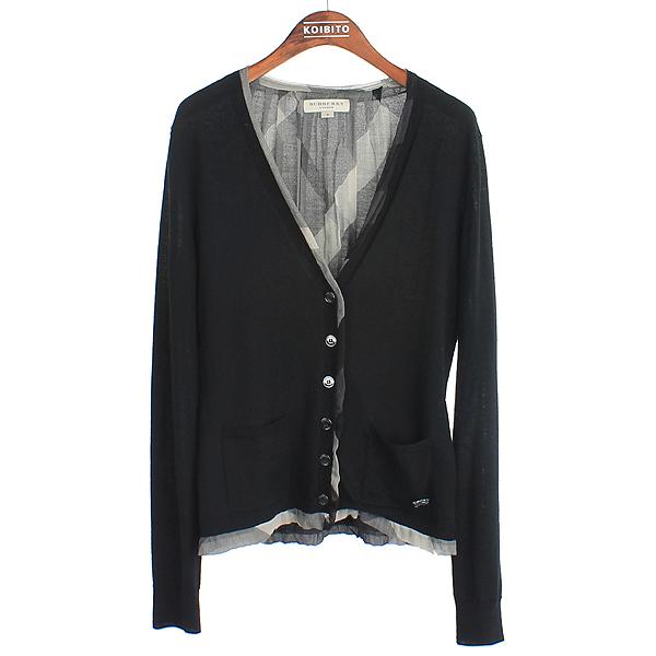 Burberry(버버리) 3761441 울 100% 블랙 컬러 로고 디테일 체크 포인트 여성용 가디건 [강남본점]