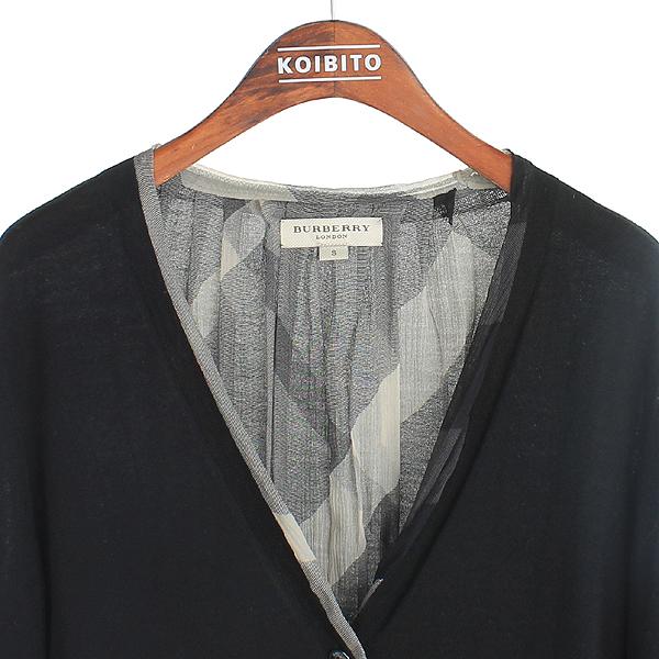 Burberry(버버리) 3761441 울 100% 블랙 컬러 로고 디테일 체크 포인트 여성용 가디건 [강남본점] 이미지2 - 고이비토 중고명품