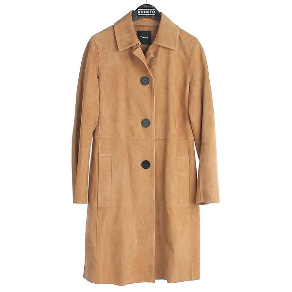 THEORY(띠어리) 114845673 브라운 스웨이드 PIAZZA 여성용 코트 [대전본점]