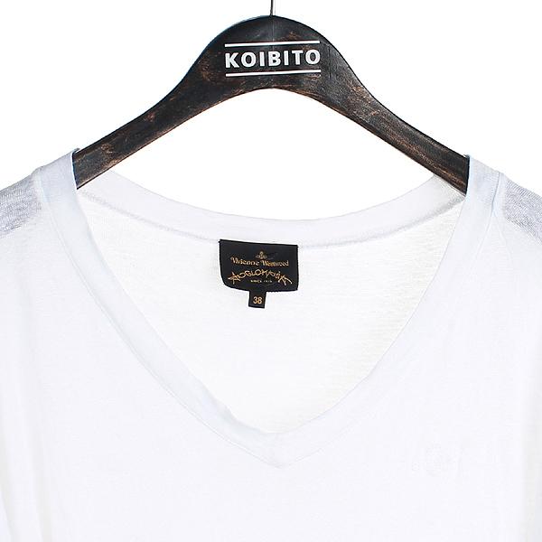 Vivienne_Westwood(비비안 웨스트우드) 마 100% 화이트 컬러 ORB 로고 여성용 반팔 티 [강남본점]