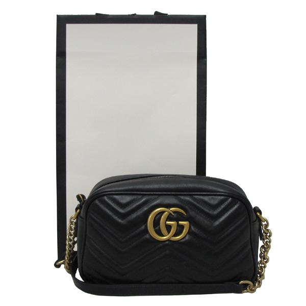 Gucci(구찌) 447632 블랙 레더 GG Marmont(마몬트) 마틀라세 금장로고 체인 크로스백 [대구반월당본점]