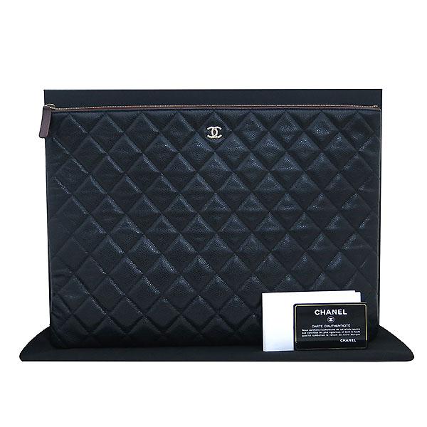 Chanel(샤넬) 블랙 캐비어스킨 금장 COCO로고 백포켓 XL사이즈 클러치백 [부산센텀본점]