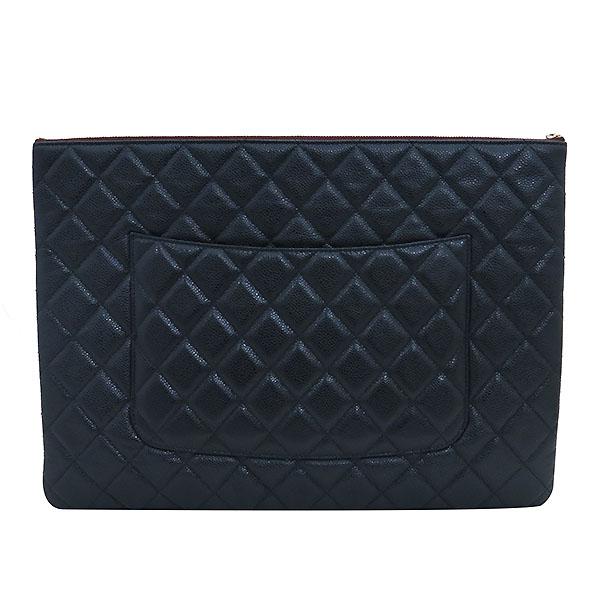 Chanel(샤넬) 블랙 캐비어스킨 금장 COCO로고 백포켓 XL사이즈 클러치백 [부산센텀본점] 이미지4 - 고이비토 중고명품