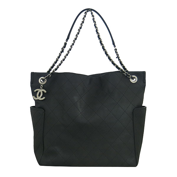 Chanel(샤넬) 블랙 캐비어 COCO로고 퀼팅 스티치 shopping(쇼핑) 은장 체인 숄더백 [동대문점] 이미지2 - 고이비토 중고명품