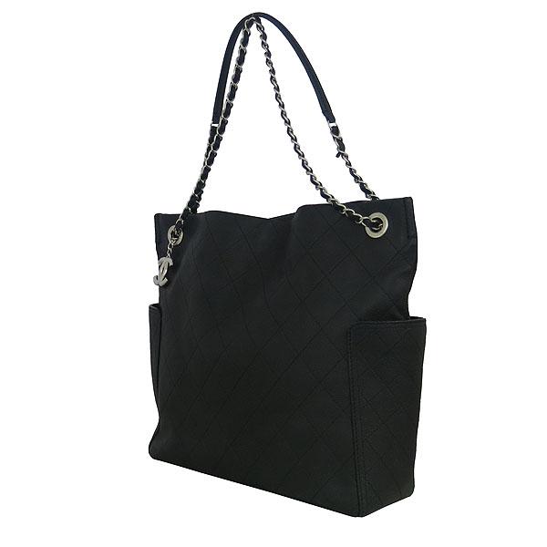 Chanel(샤넬) 블랙 캐비어 COCO로고 퀼팅 스티치 shopping(쇼핑) 은장 체인 숄더백 [동대문점] 이미지3 - 고이비토 중고명품