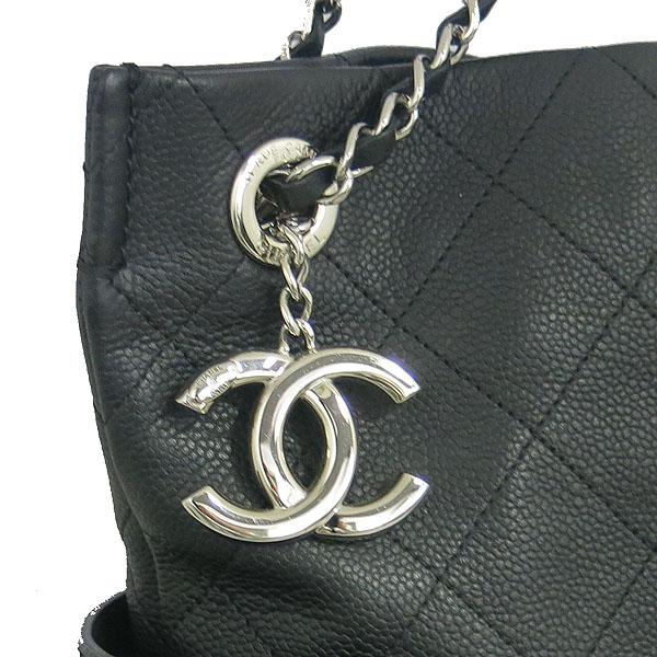 Chanel(샤넬) 블랙 캐비어 COCO로고 퀼팅 스티치 shopping(쇼핑) 은장 체인 숄더백 [동대문점] 이미지4 - 고이비토 중고명품