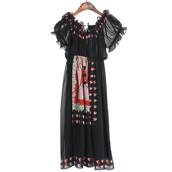 Anna Sui(안나수이) 블랙 프린팅 여성용 원피스 [강남본점]