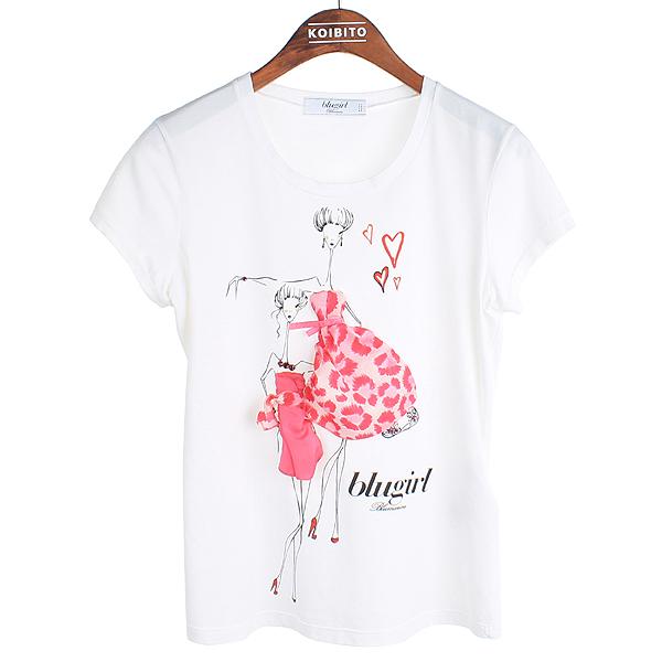 Blumarine(블루마린) 화이트 컬러 프린팅 여성용 반팔 티셔츠 [강남본점]