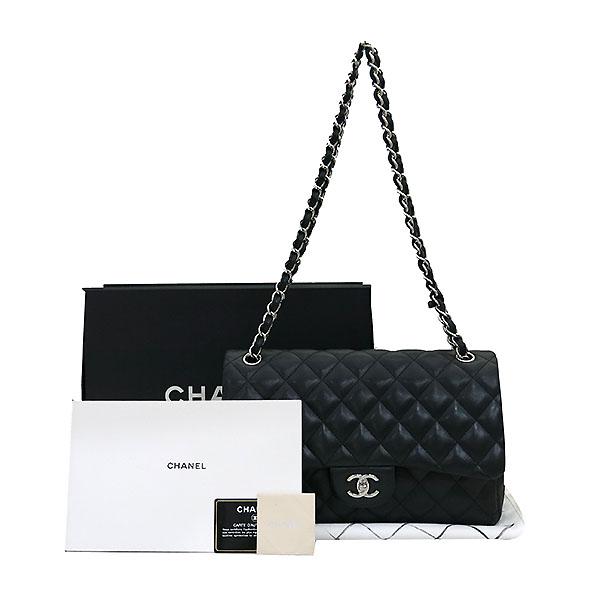 Chanel(샤넬) A58600 램스킨 블랙 클래식 점보 L사이즈 은장로고 체인 플랩 숄더백 [부산센텀본점]