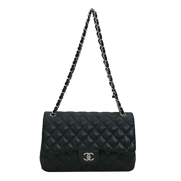 Chanel(샤넬) A58600 램스킨 블랙 클래식 점보 L사이즈 은장로고 체인 플랩 숄더백 [부산센텀본점] 이미지2 - 고이비토 중고명품
