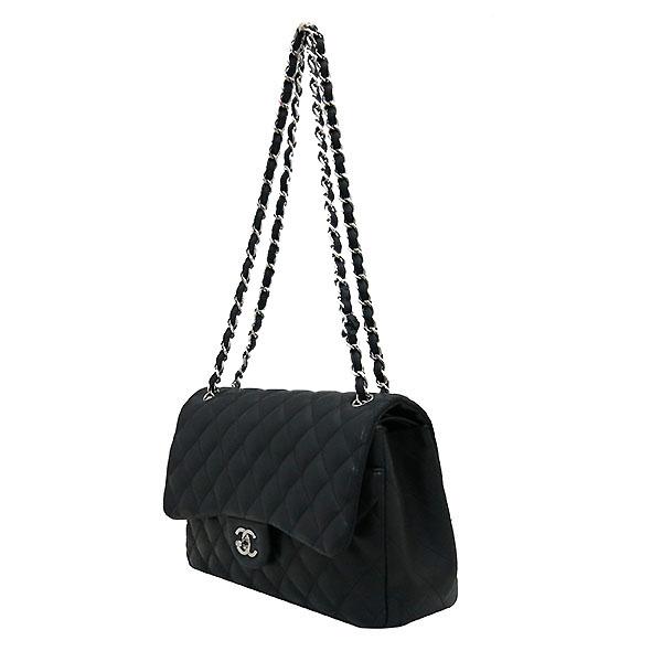 Chanel(샤넬) A58600 램스킨 블랙 클래식 점보 L사이즈 은장로고 체인 플랩 숄더백 [부산센텀본점] 이미지3 - 고이비토 중고명품