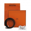 Hermes(에르메스) 은장 H 로고 버클 블랙 + 오렌지 컬러 양면 벨트 [부산센텀본점]