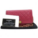 Chanel(샤넬) A80287 핑크 램스킨 보이 WOC (월릿 온 더 체인) 빈티지체인 클러치 겸 크로스백 [강남본점]