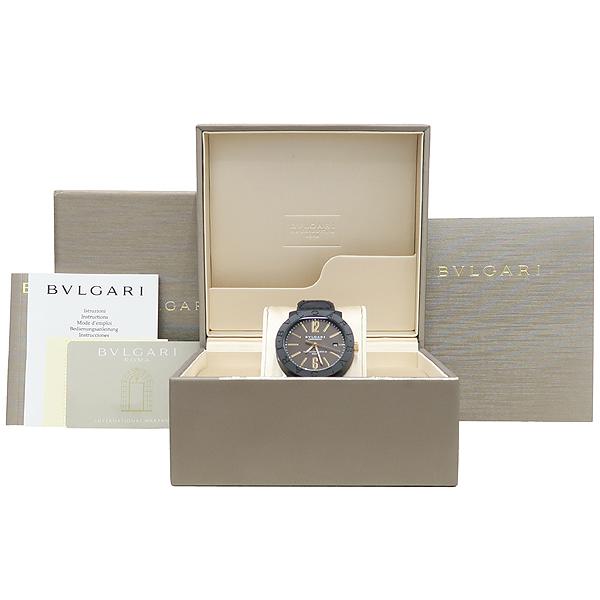 Bvlgari(불가리) BBP40C11CGLD 카본 골드 오토매틱 가죽밴드 시계 [대전본점]