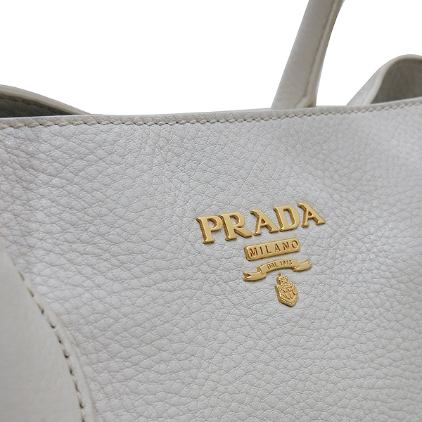 Prada(프라다) BN2537 VIT.DAINO(비텔로다이노) TALCO 아이보리 레더 금장로고 토트백 + 숄더스트랩 2WAY [인천점] 이미지5 - 고이비토 중고명품