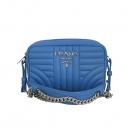 Prada(프라다) 1BH084 씨 블루 레더 은장 로고 다이어그램 크로스백 [동대문점]