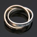 Tiffany(티파니) 1837 Interlocking(인터락킹) circles(써클) 로즈 골드(18K) + 실버(925) 더블링 반지 - 9호 [대구동성로점]