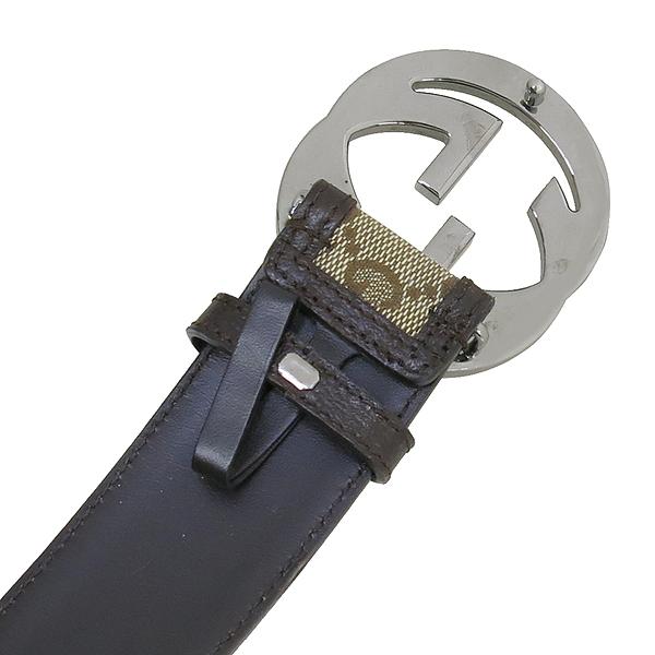 Gucci(구찌) 114876 GG 로고 자가드 브라운 레더 트리밍 벨트 [강남본점] 이미지3 - 고이비토 중고명품