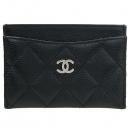 Chanel(샤넬) A31510 캐비어 스킨 블랙 COCO 은장 로고 마트라쎄 카드지갑 [강남본점]