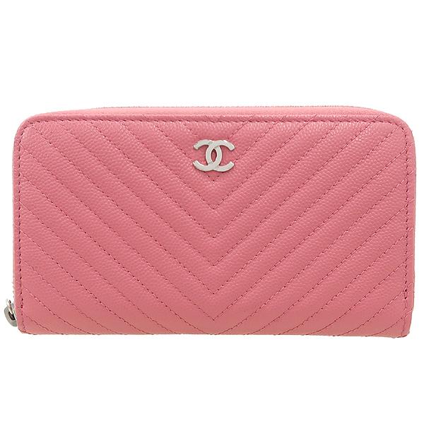 Chanel(샤넬) A80481Y605982 핑크 컬러 캐비어스킨 쉐브론 짚업 중지갑 [강남본점] 이미지2 - 고이비토 중고명품