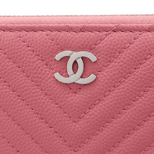 Chanel(샤넬) A80481Y605982 핑크 컬러 캐비어스킨 쉐브론 짚업 중지갑 [강남본점] 이미지3 - 고이비토 중고명품