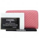 Chanel(샤넬) A80481Y605982 핑크 컬러 캐비어스킨 쉐브론 짚업 중지갑 [강남본점]