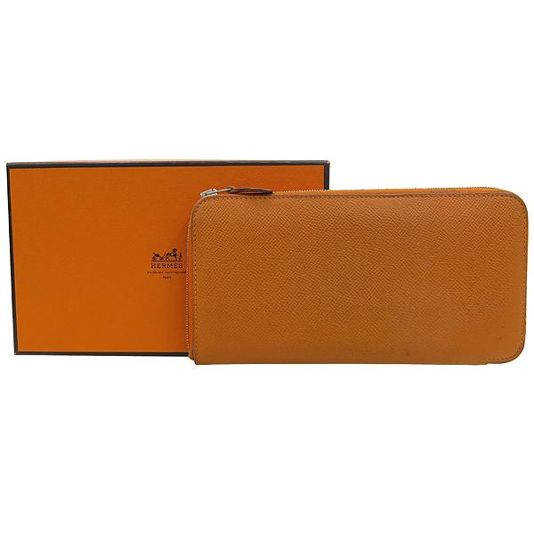 Hermes(에르메스) 아잡(AZAPA) 오렌지 컬러 올 레더 집업 장지갑 [강남본점]