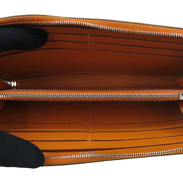 Hermes(에르메스) 아잡(AZAPA) 오렌지 컬러 올 레더 집업 장지갑 [강남본점] 이미지4 - 고이비토 중고명품