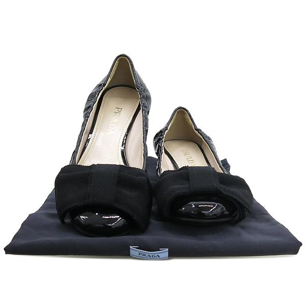 Prada(프라다) 리본 장식 블랙 페이던트 여성용 플랫 구두 [강남본점]