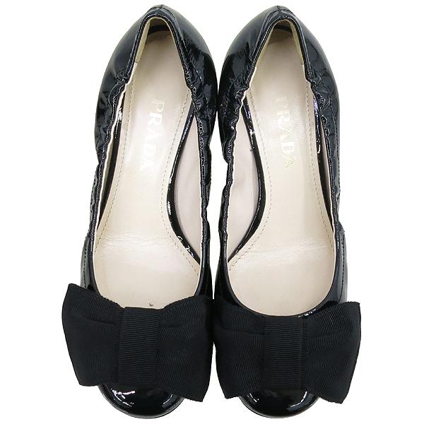 Prada(프라다) 리본 장식 블랙 페이던트 여성용 플랫 구두 [강남본점] 이미지5 - 고이비토 중고명품