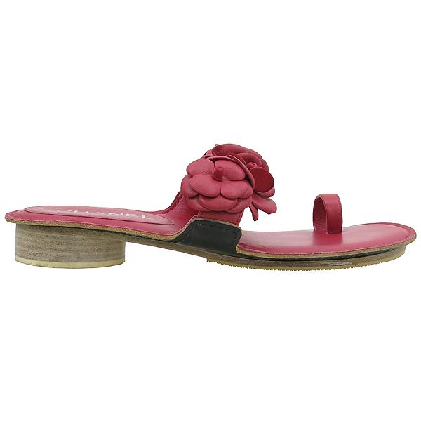 Chanel(샤넬) G29783 레드 램스킨 레더 까멜리아 장식 샌들 [강남본점] 이미지3 - 고이비토 중고명품
