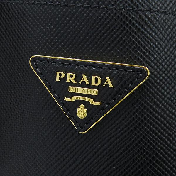 Prada(프라다) 1BG775 블랙 컬러 사피아노 금장 삼각 로고 장식 두블레 토트백 + 숄더스트랩 2WAY [강남본점] 이미지4 - 고이비토 중고명품
