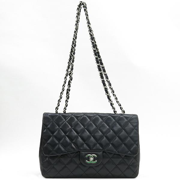Chanel(샤넬) A28600 램스킨 블랙컬러 클래식 점보 L사이즈 은장로고 체인 원 플랩 숄더백 [강남본점] 이미지2 - 고이비토 중고명품