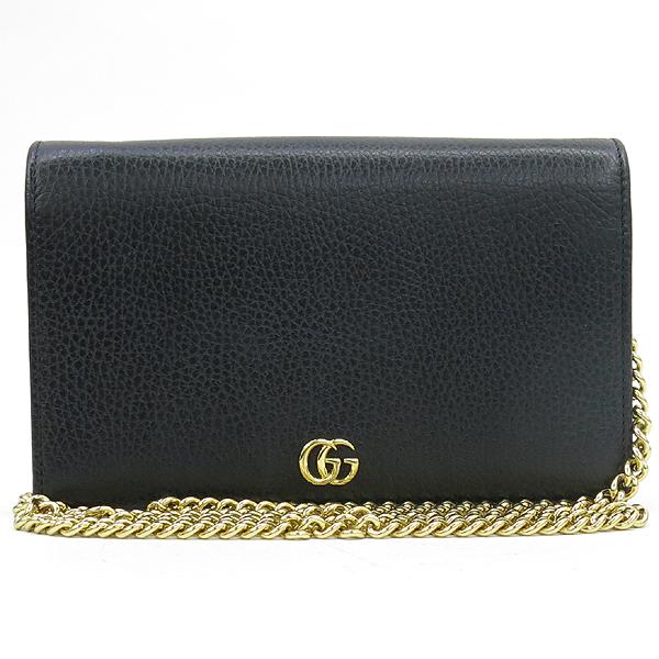 Gucci(구찌) 497985 마몬트 로고 장식 블랙 레더 체인 크로스백 [강남본점]
