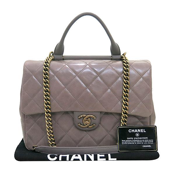 Chanel(샤넬) 금장 COCO로고 파우더핑크 레더 퀼팅 탑핸들 토트백 + 체인 숄더백 2WAY [대전본점]