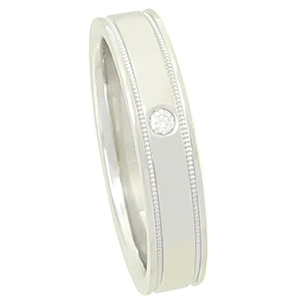 Tiffany(티파니) PT950 에센셜 포인트 다이아 셋팅 더블 밀그레인 4MM 반지 - 13호 [강남본점] 이미지2 - 고이비토 중고명품