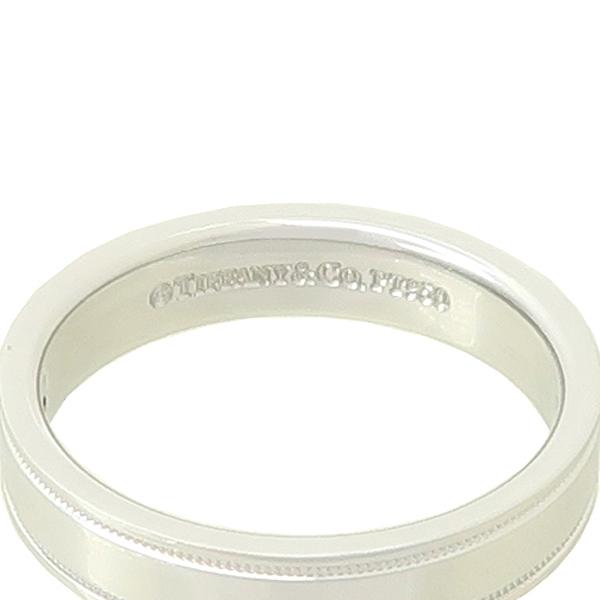 Tiffany(티파니) PT950 에센셜 포인트 다이아 셋팅 더블 밀그레인 4MM 반지 - 13호 [강남본점] 이미지3 - 고이비토 중고명품
