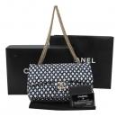 Chanel(샤넬) 네이비 & 아이보리 트위드 퀼팅 M사이즈 클래식 체인 숄더백 [대구반월당본점]