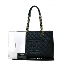 Chanel(샤넬) A50995Y01588 캐비어스킨 블랙 그랜드샤핑 금장 로고 체인 숄더백 [부산센텀본점]