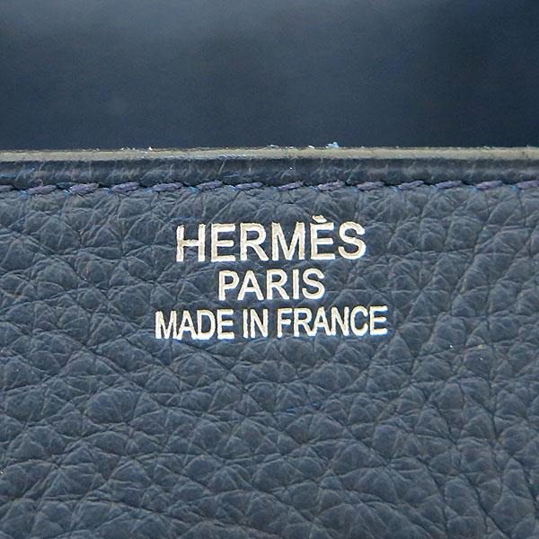 Hermes(에르메스) 숄더 벌킨 42 네이비 은장로고 락 장식 토트 or 숄더백 [대전본점] 이미지4 - 고이비토 중고명품
