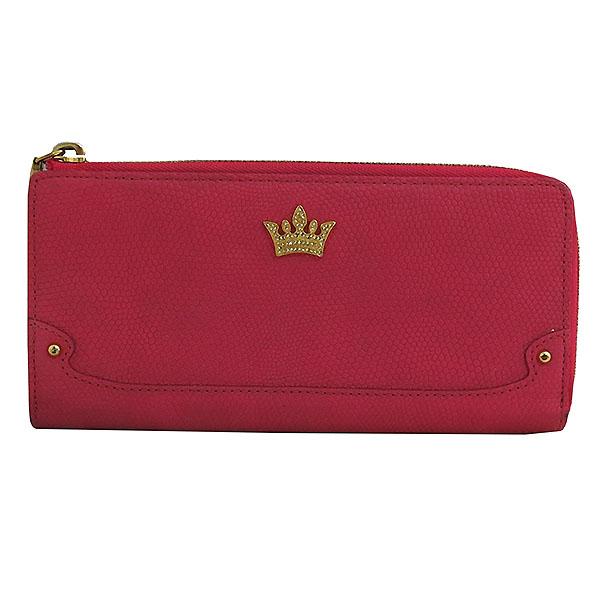 J.ESTINA(제이에스티나) 핑크 레더 스네이크 패던 금장 로고 장식 집업 장지갑 [대구동성로점]
