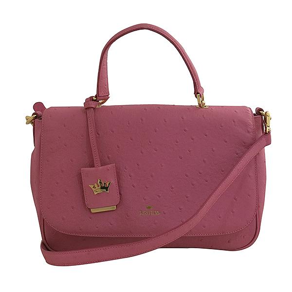 J.ESTINA(제이에스티나) 금장 로고 장식 오스트리치 패턴 핑크 컬러 토트백 + 숄더스트랩 [대구동성로점]