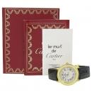 Cartier(까르띠에) MUST DE CATIER 머스트 드 까르띠에 라운드 SILVER(925) 금장 데이트 쿼츠 가죽 밴드 남여 공용 시계 [강남본점]