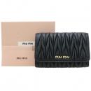 MiuMiu(미우미우) 5MH105 블랙 컬러 마트라쎄 반지갑 [강남본점]