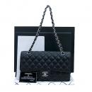 Chanel(샤넬) A0112Y01588 캐비어스킨 블랙 클래식  M사이즈 은장로고 체인 숄더백 [부산센텀본점]